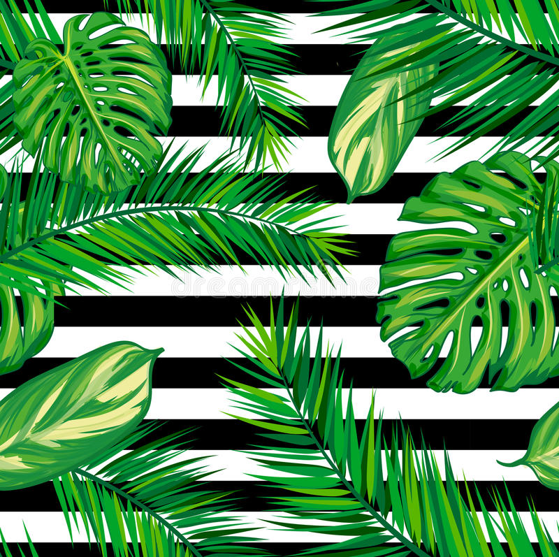Beautiful seamless tropical jungle floral pattern background with palm leaves royalty free illustration