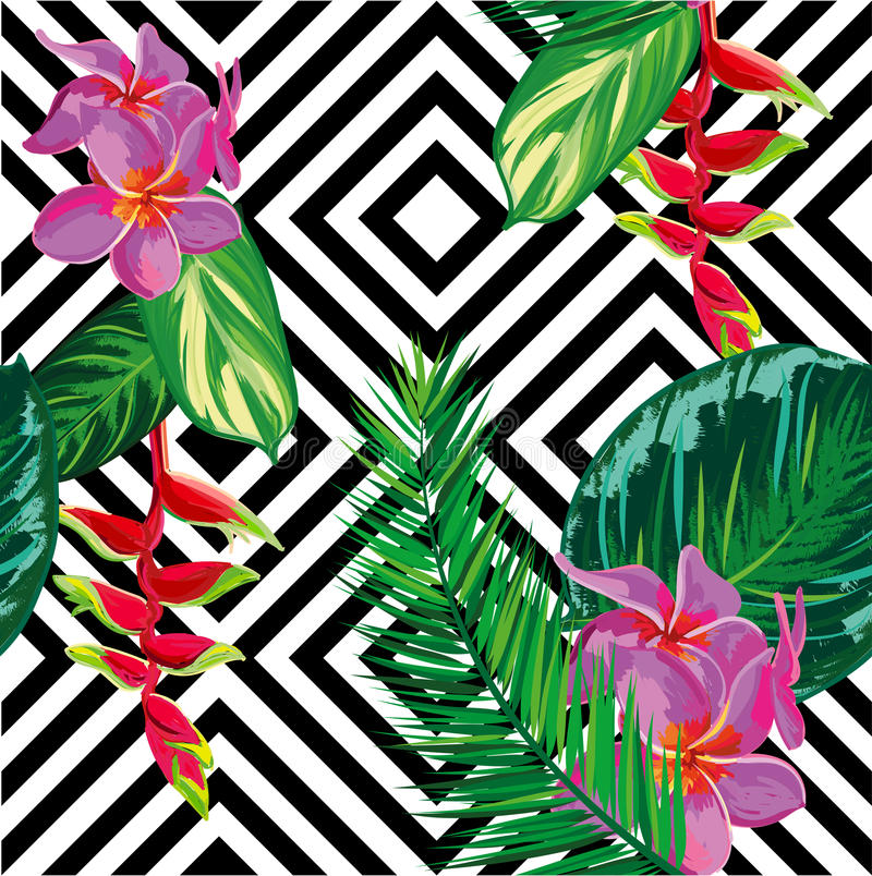 Beautiful seamless tropical jungle floral pattern background with palm leaves stock illustration