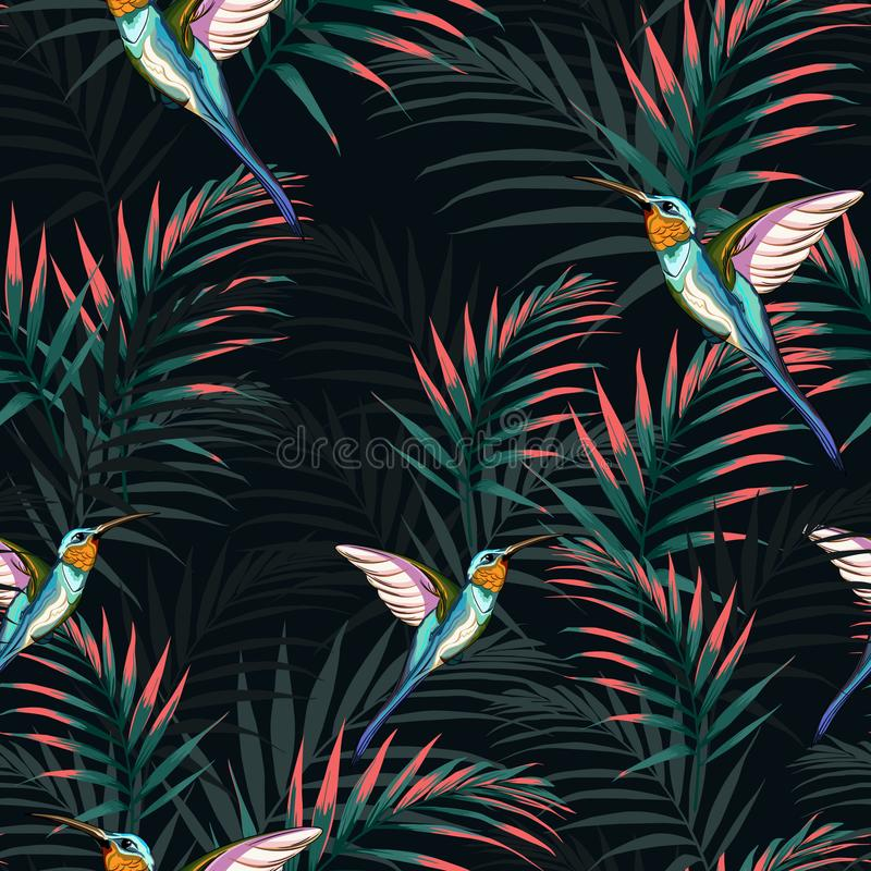Beautiful seamless vector floral summer pattern background with hummingbird and bright palm leaves. Perfect for wallpapers, web page backgrounds, surface stock illustration
