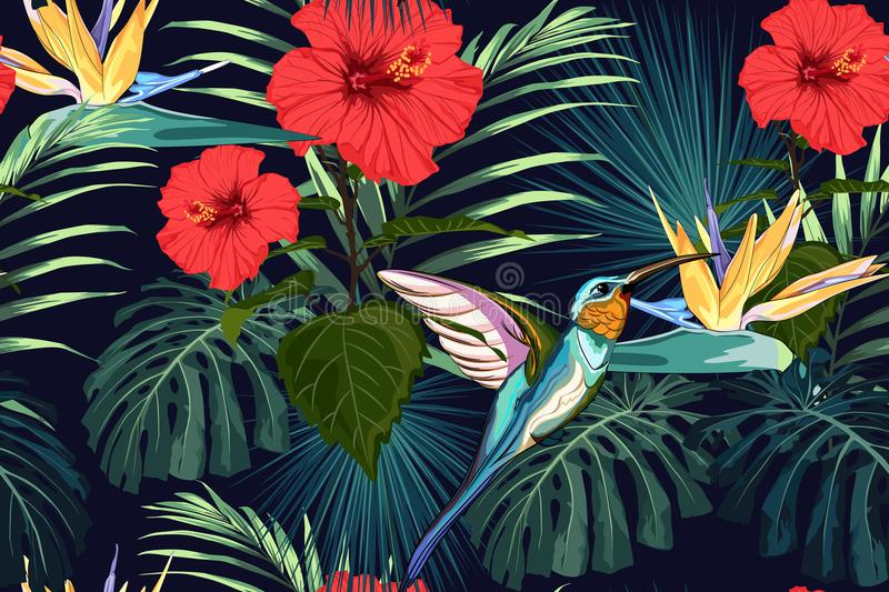 Beautiful seamless vector floral summer pattern background with hummingbird, exotic flowers and palm leaves. royalty free illustration
