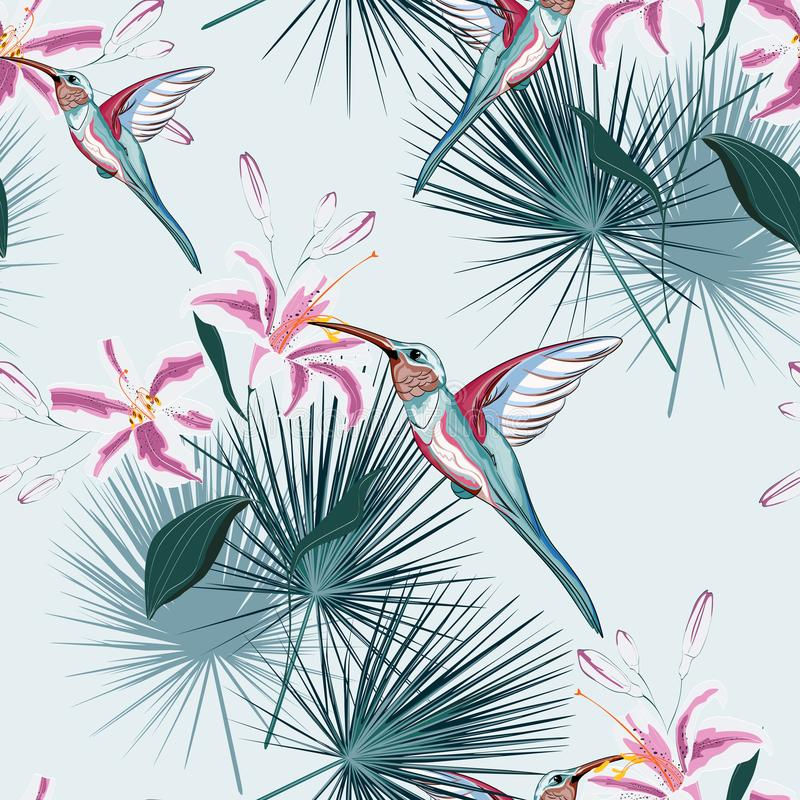 Beautiful seamless vector floral summer pattern background with hummingbird, tropical pink lilies flowers and palm leaves. stock illustration