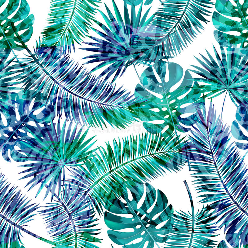 Beautiful seamless vector floral summer pattern background with tropical palm leaves and animal prints.Perfect for royalty free illustration