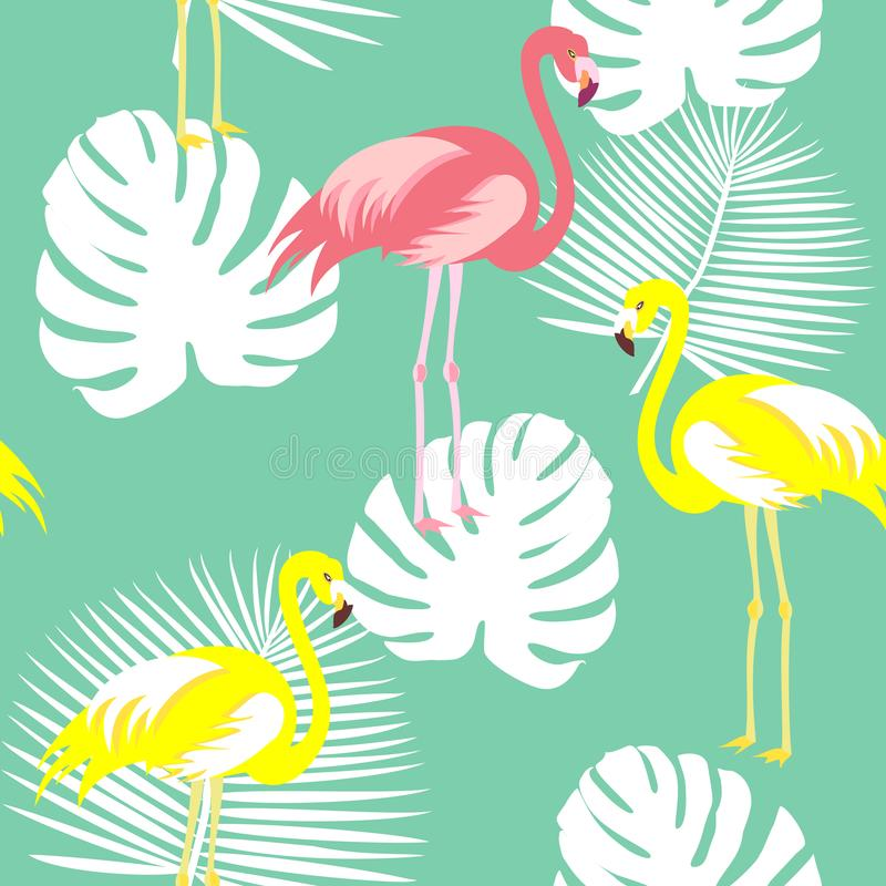 Beautiful seamless vector floral summer pattern background with tropical palm leaves, flamingo, hibiscus. Perfect for vector illustration