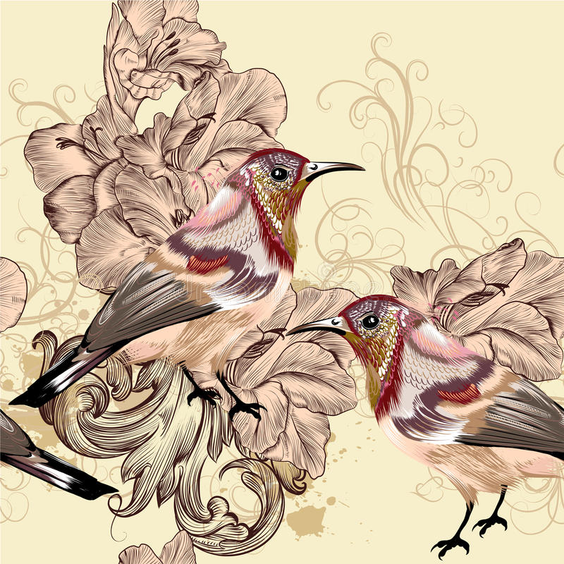 Beautiful seamless vector wallpaper pattern with birds stock illustration