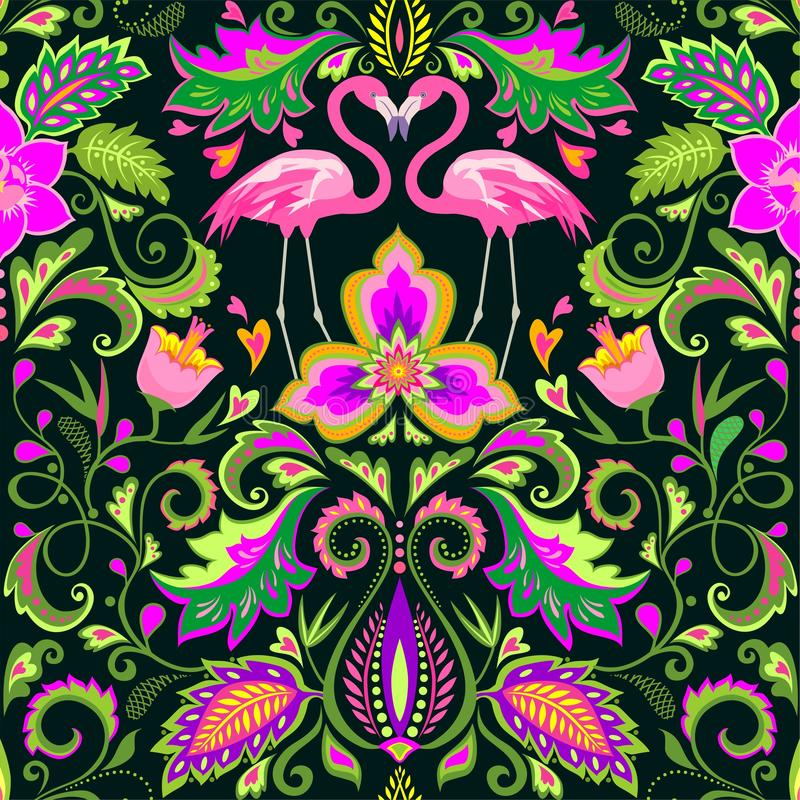 Beautiful seamless wallpaper with exotic flowers, tropical leaves and pink flamingo for carpet, fabric, textile and wrapping paper. Beautiful seamless wallpaper stock illustration