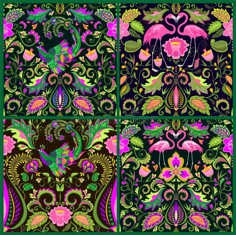 Beautiful seamless wallpapers set with exotic flowers, tropical leaves, magic bird and pink flamingo for carpet, fabric, textile,. Beautiful seamless wallpapers royalty free illustration