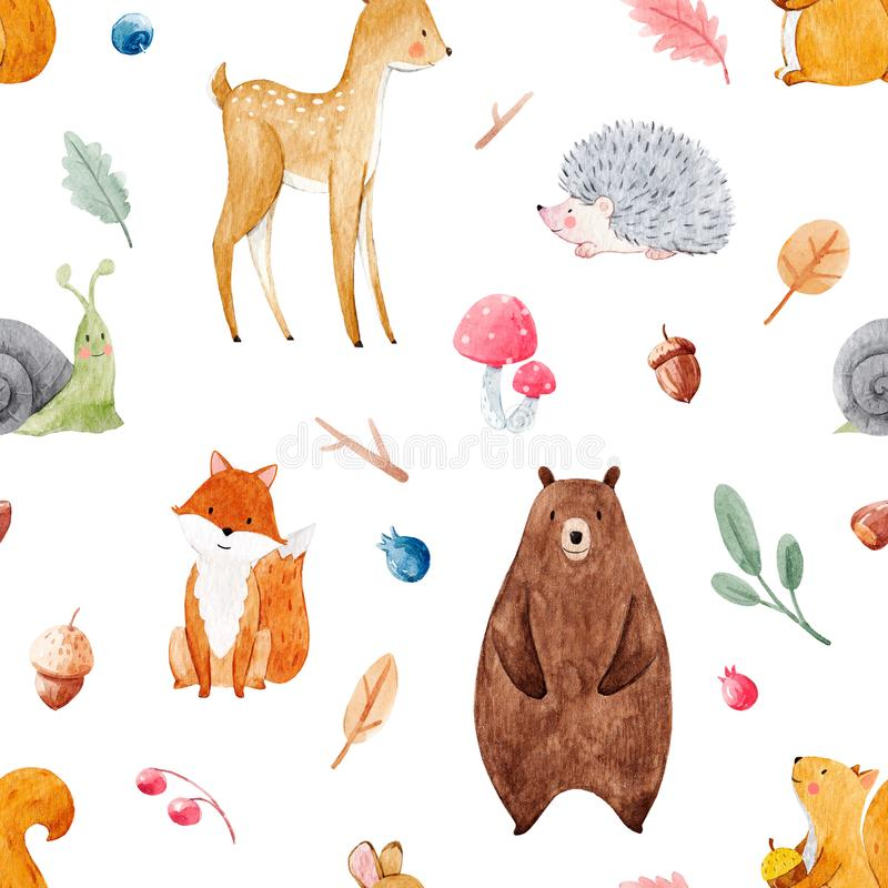 Watercolor baby pattern. Beautiful seamless watercolor baby pattern with nice animals stock illustration