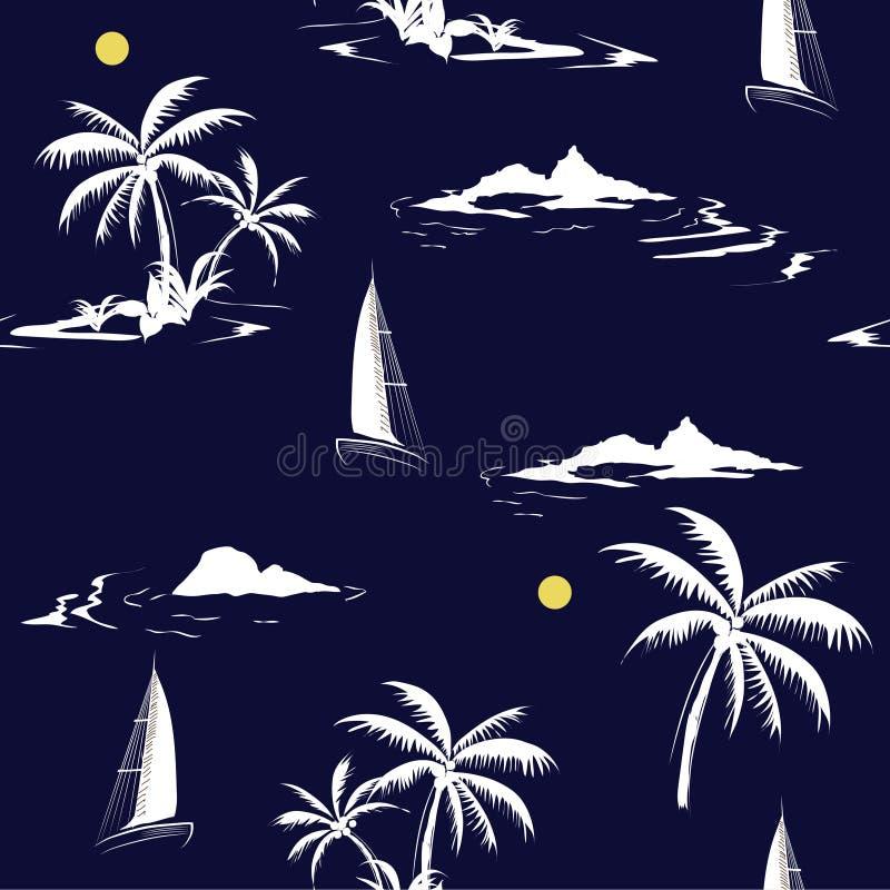 Beautiful seamless white island pattern on navy blue background royalty free illustration