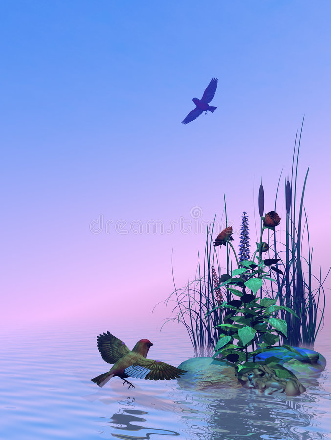 Beautiful Seascape. With Flowers, Rocks and Birds vector illustration