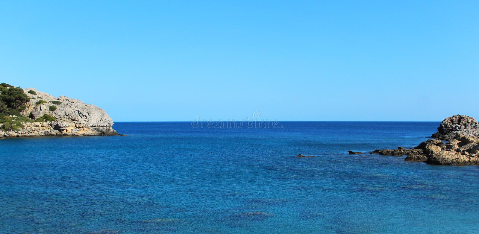 Scenic seascape - Rhodes island, Greece stock photo