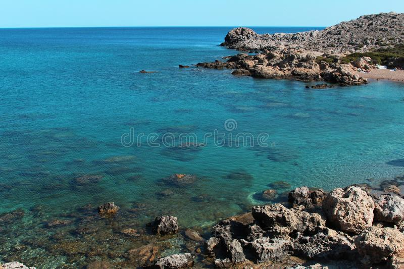 Scenic seascape, wild coast - Rhodes island, Greece stock photography