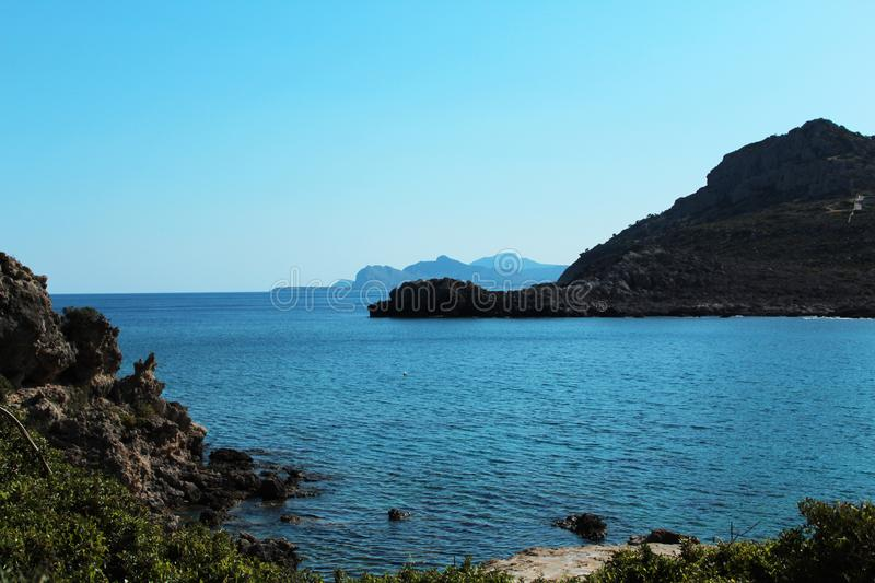 Scenic seascape, wild coast - Rhodes island, Greece royalty free stock photography