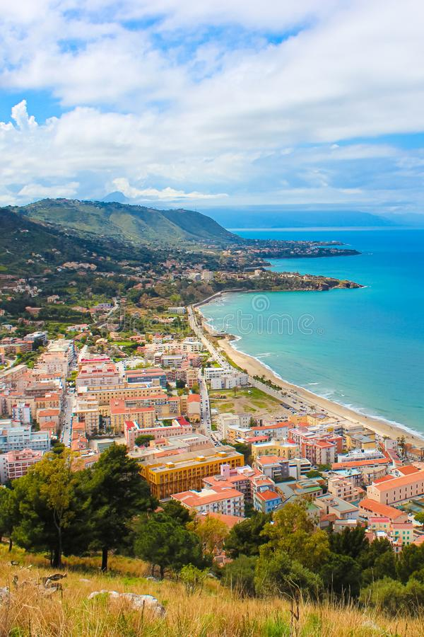 Beautiful seascape in Sicilian Cefalu, Italy photographed from adjacent hills overlooking the bay. The city on Tyrrhenian coast. Is a popular summer vacation stock photo