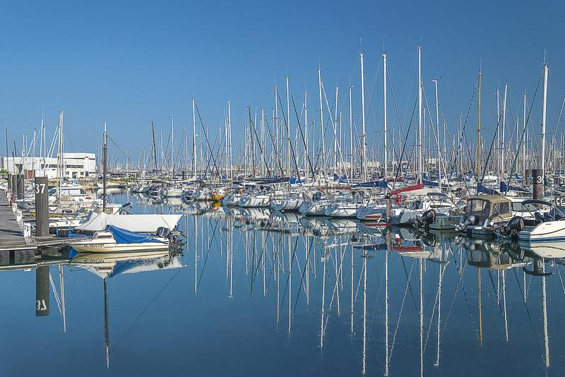 Beautiful seascape with white yachts on sunny day stock image