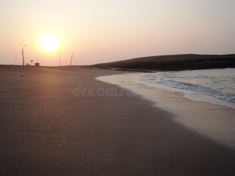 Beautiful seashore during sunrise at Diu. I clicked this photo at early morning near Nagoa beach , Diu, Gujarat. This is beautiful beach with clean water. Good royalty free stock photos