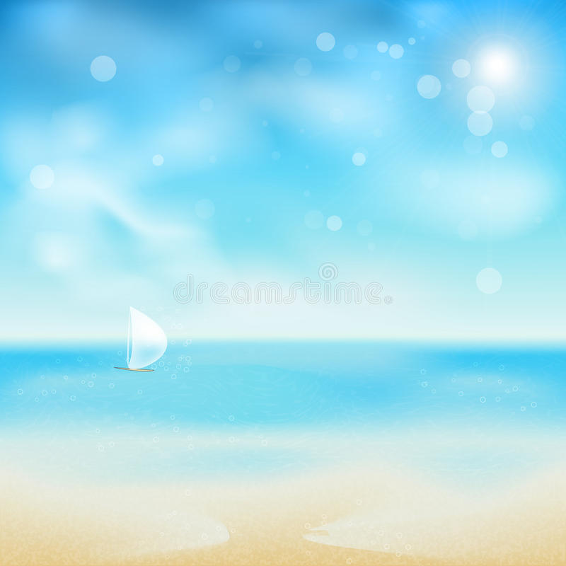 Sand Beach In Summer Sky Background: Beautiful Seaside Look In A Sunny Day With Sand An Stock