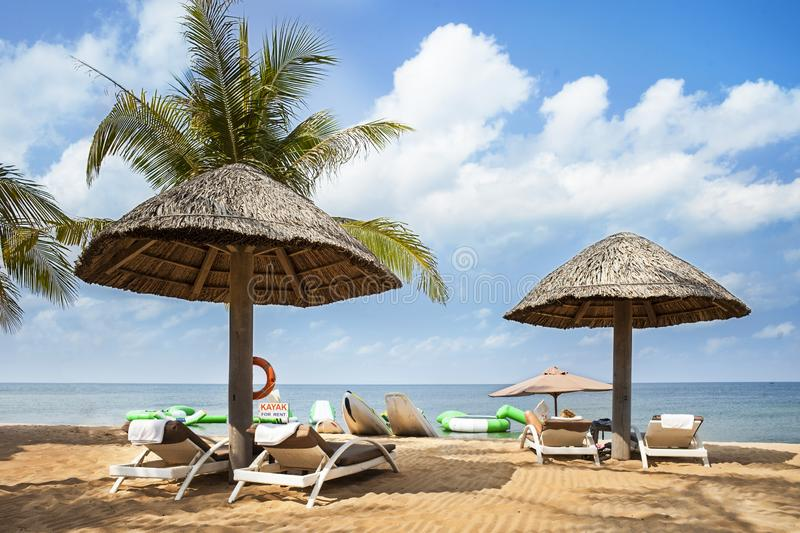 The beautiful seaside of Phu Quoc island in Vietnam. Relaxation area watching the sea at Famiana resort on the beach in Phu Quoc island of Vietnam. Blue sky stock image