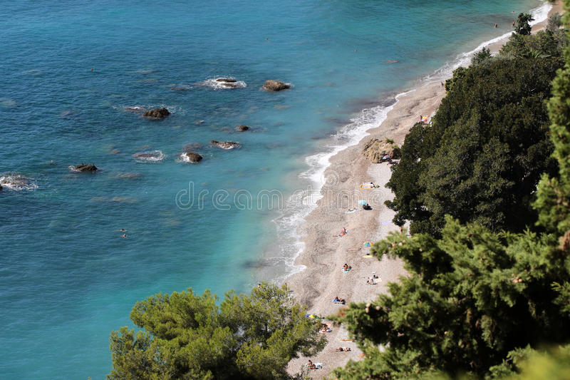 Beautiful seaside seen from above royalty free stock photo