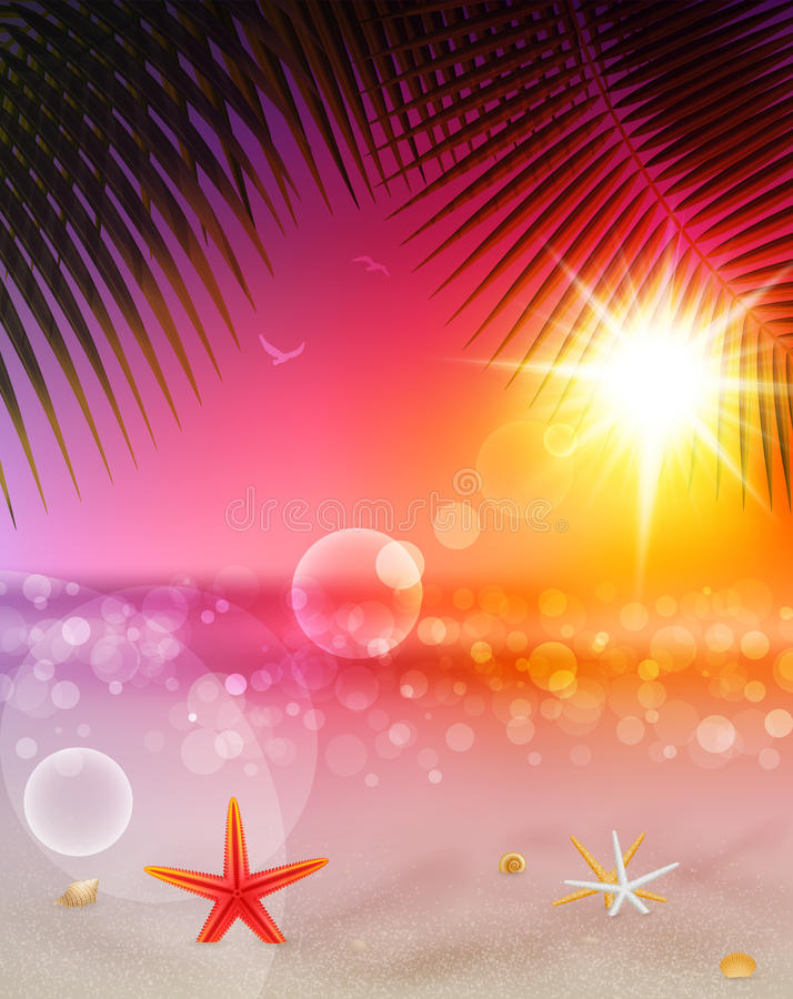 Download Beautiful Seaside Sunset View With Palm Leaves Stock Vector - Illustration: 26015262