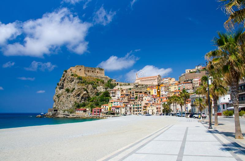 Scilla village, castle on rock and colorful houses, Calabria, Italy stock photo