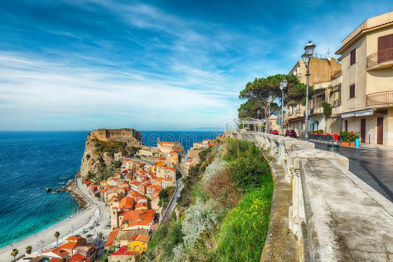 Beautiful seaside town village Scilla with old medieval castle on rock Castello Ruffo royalty free stock photos