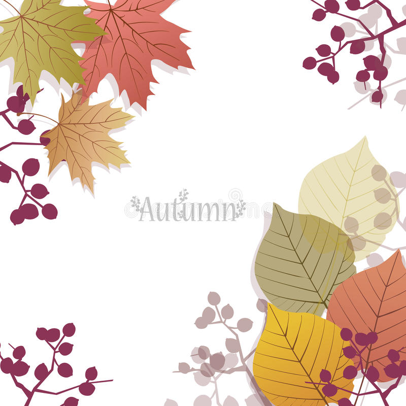 Download Beautiful Seasonal Background With Autumn Leaves And Berries Stock Vector - Illustration: 33406625