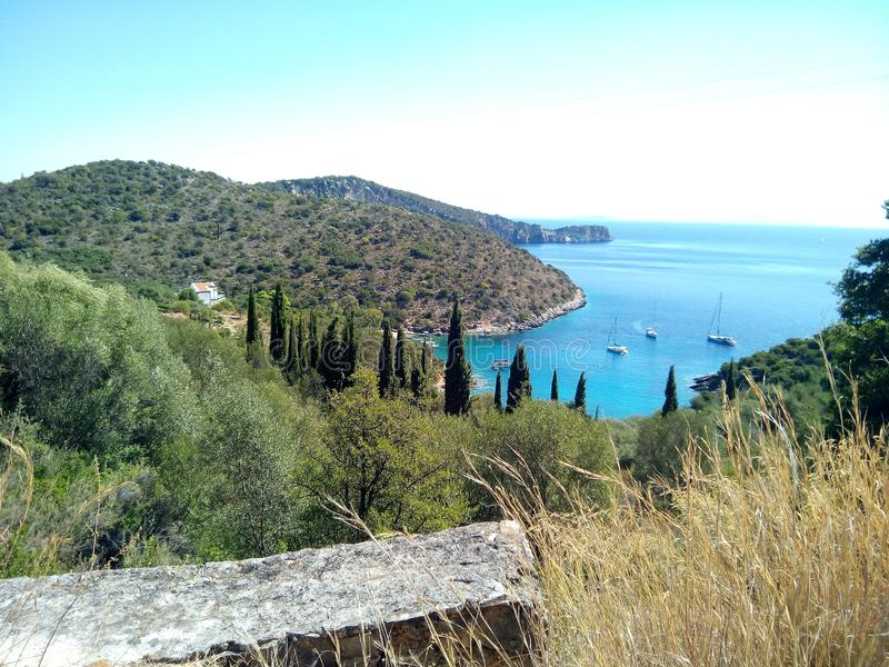Secluded bay with turquoise waters, Greece islands royalty free stock images