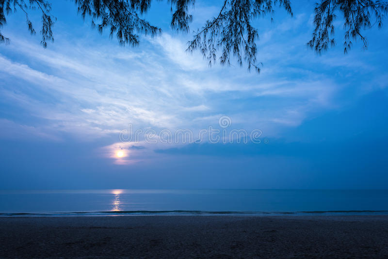 Beautiful secluded beach at night. Copy space royalty free stock photography