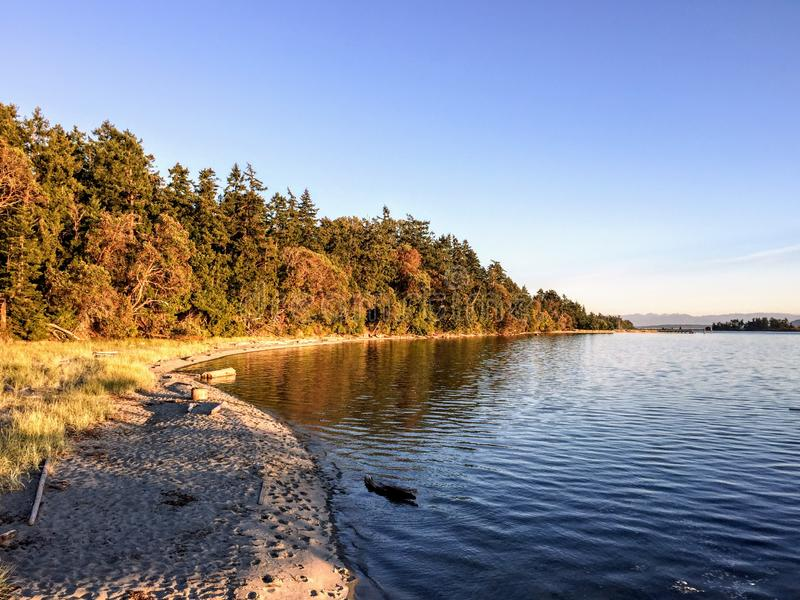 A beautiful secluded sandy beach on Sidney Island in the Gulf Islands of British Columbia, Canada. The ocean water is calm on a gorgeous evening as the sun stock images