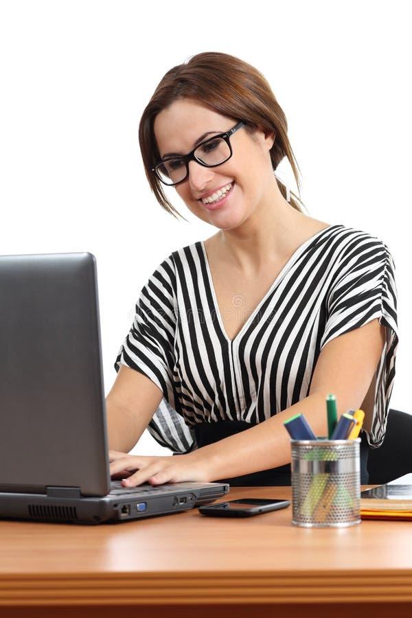 Beautiful secretary working happy in the office stock photo