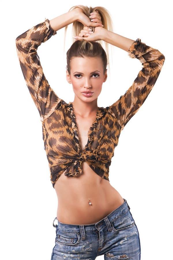 Beautiful seductive model royalty free stock photo