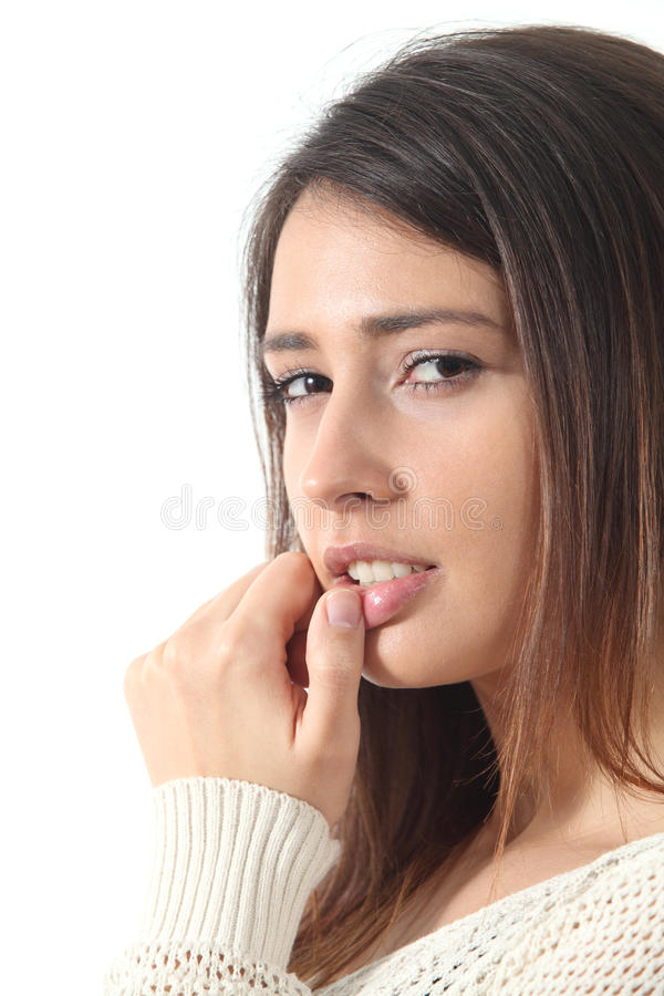 Beautiful and seductive woman watching at the camera royalty free stock photography