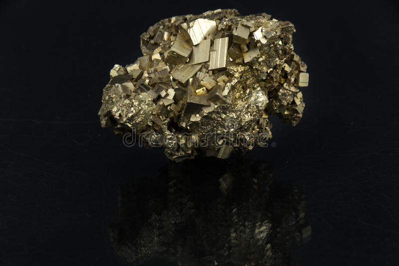 Download Beautiful Semi-precious Stone Pyrite  On A Black Background Stock Image - Image of black, gemmology: 89240609