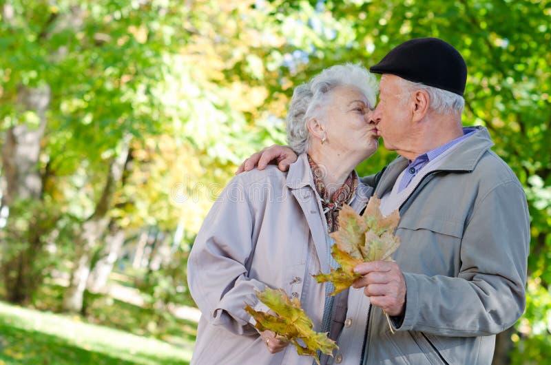 Beautiful senior couple kissing royalty free stock image