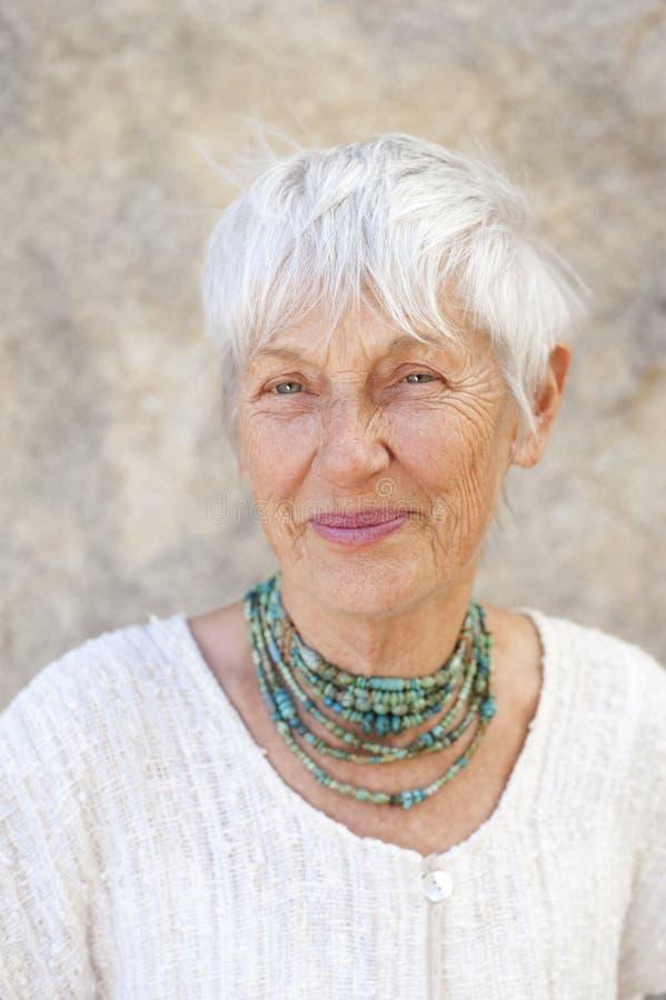 Beautiful Organic Senior Woman Smiling  stock photos