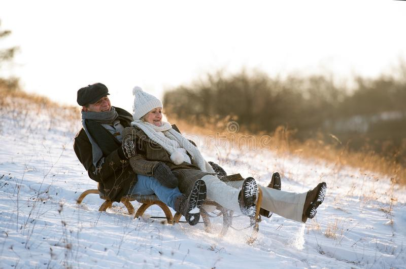 Beautiful senior couple on sledge having fun, winter day. Beautiful senior women and men on sledge having fun in sunny winter nature royalty free stock photos
