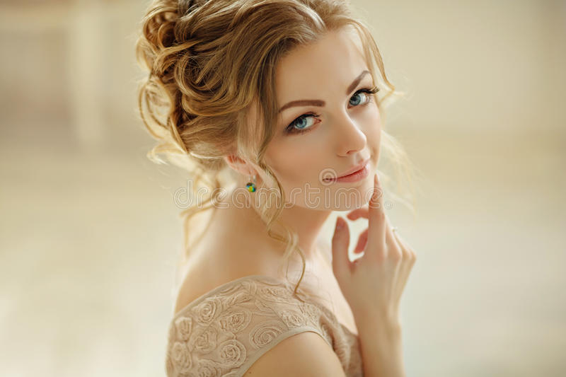 Beautiful sensual girl blonde with blue eyes smiling .Portrait c royalty free stock photos