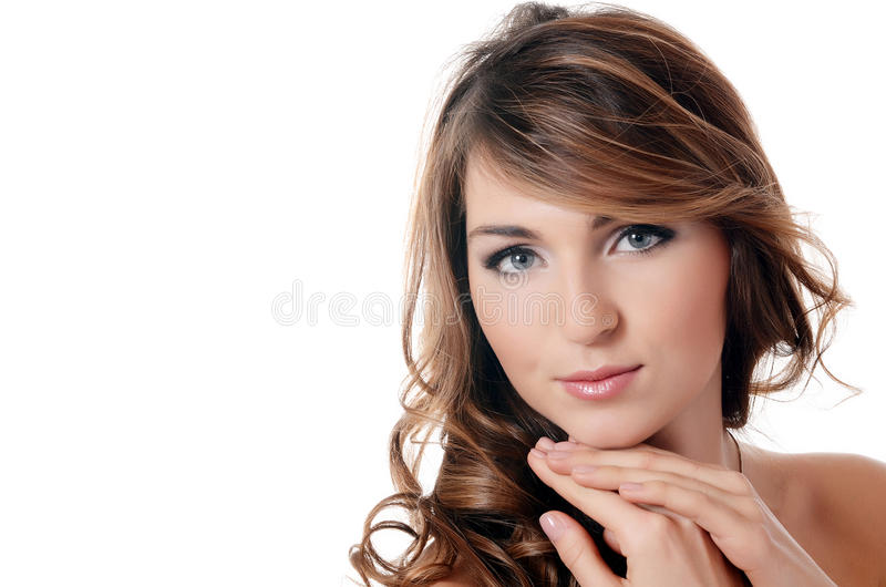 Beautiful sensual woman with long hair royalty free stock photography