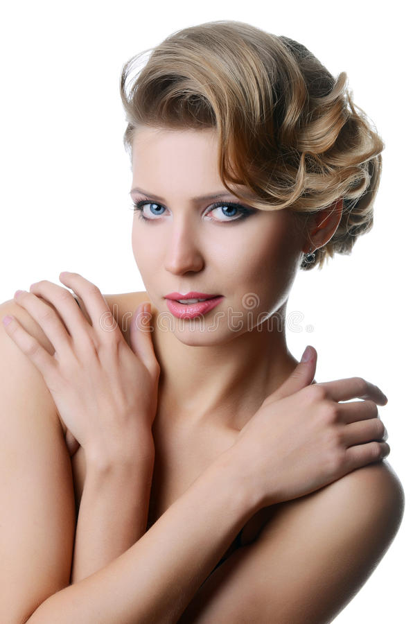 Beautiful sensual woman with long hair royalty free stock photo