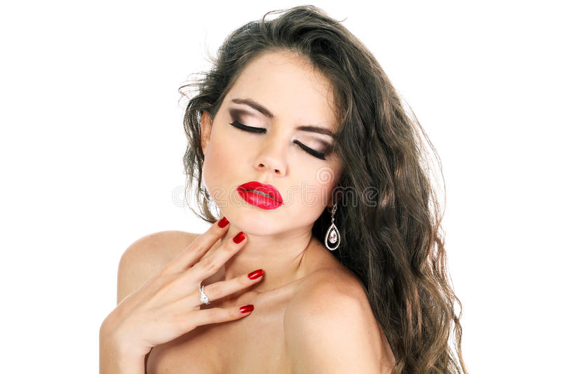 Beautiful Sensual young woman with red lips