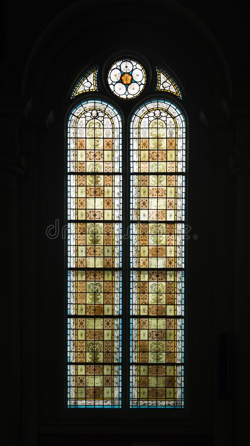 Beautiful stained glass window from the Great Synagogue in Deventer, the Netherlands stock photography