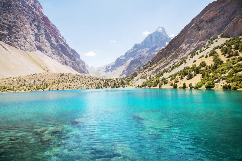 Fann mountains lake royalty free stock photo