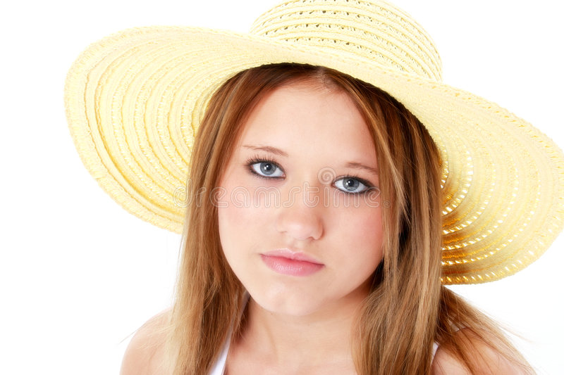 Download Beautiful Serious Teen In Yellow Hat Over White Stock Photo - Image: 185856