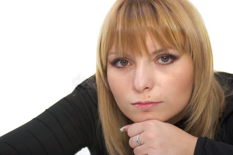 Beautiful serious woman royalty free stock image