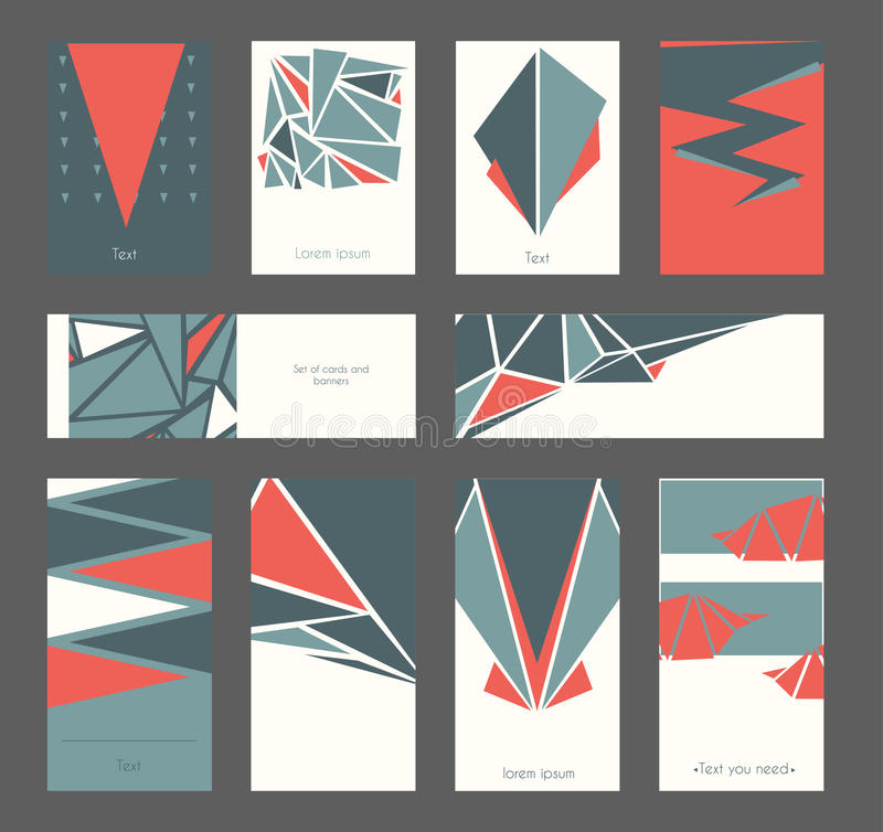 Beautiful Set Of Business Cards And Banners Based On Triangles And ...