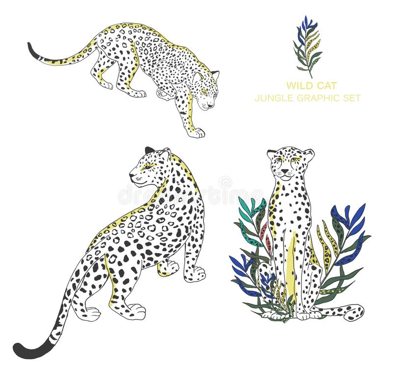 Beautiful set of cheetah and tropical leaves with watercolor illustration on isolated background. African animal royalty free illustration