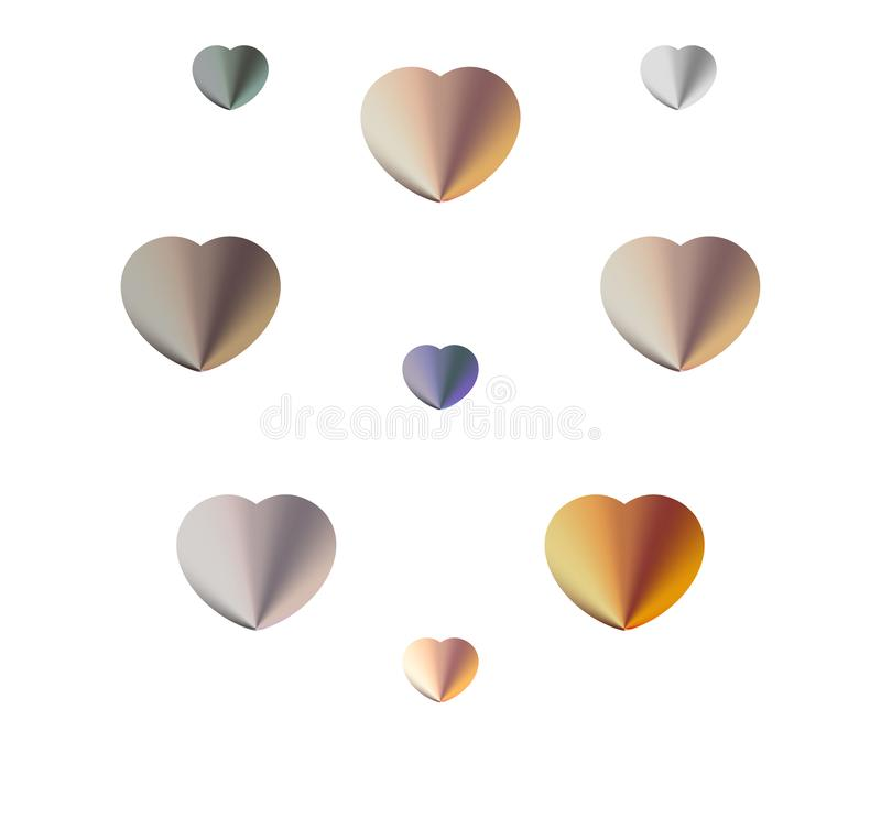 Set with color hearts for decoration on Valentine`s day. Beautiful set with color hearts for decoration on Valentine`s day vector illustration