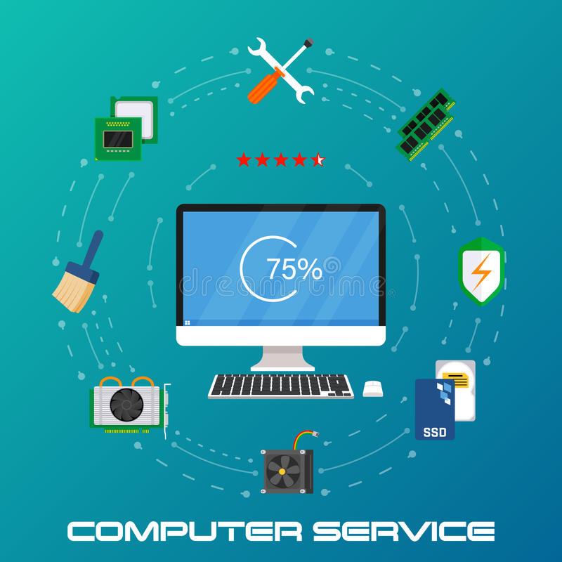 Beautiful set of colorful flat vector banner on the theme: repair a desktop computer, upgrade computer and update. Vector illustration vector illustration