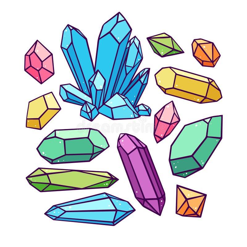 Beautiful set of crystals royalty free illustration