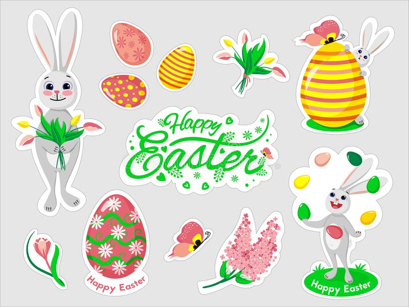 Beautiful set of Easter doodles in vector. royalty free stock photography